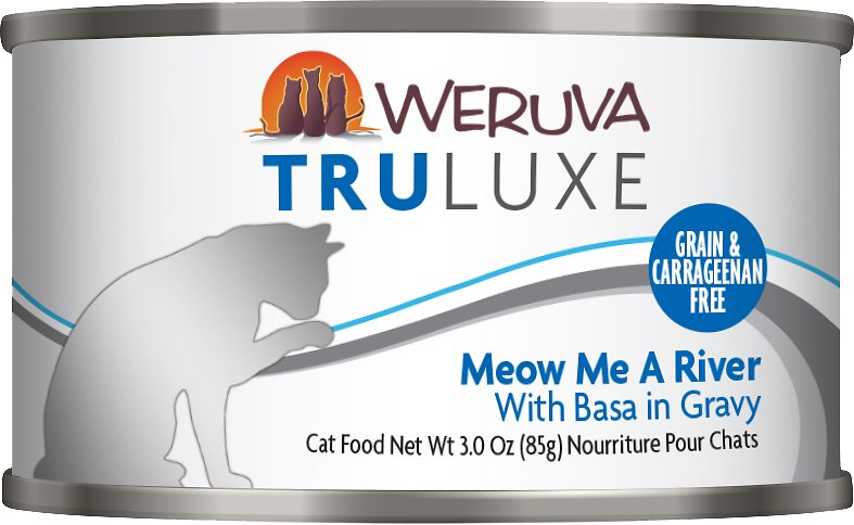 Weruva Cat Truluxe Meow Me A River with Basa in Gravy Grain-Free Wet Cat Food, 3-oz