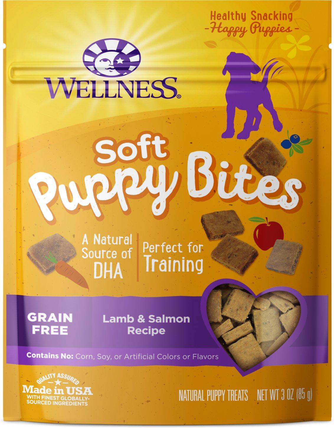 Wellness Soft Puppy Bites Grain-Free Lamb & Salmon Recipe Dog Treats, 3-oz (Weights: 3.52ounces) Image
