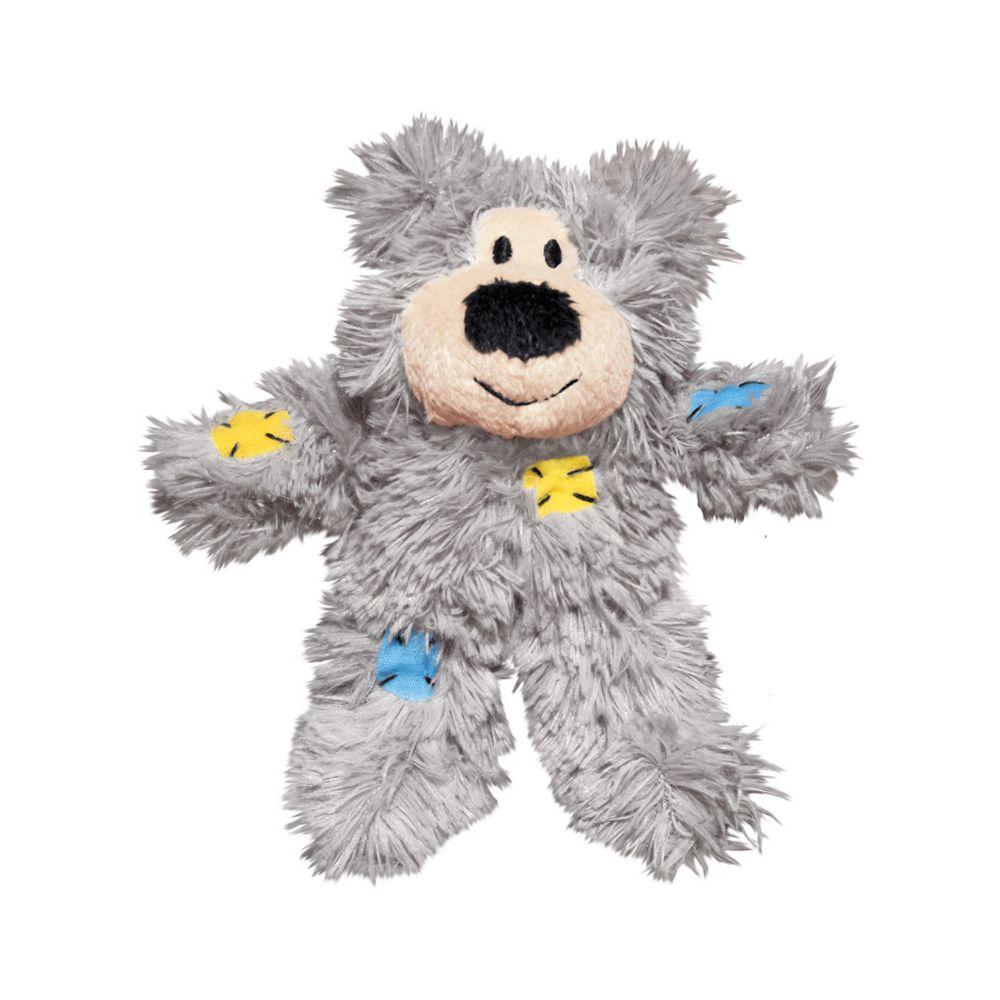 KONG Softies Patchwork Bear Cat Toy, Color Varies