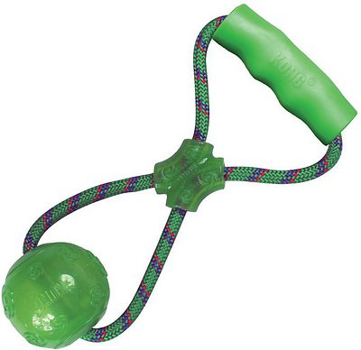 KONG Squeezz Ball with Handle Dog Toy, Color Varies, Medium
