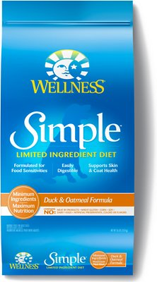 Wellness Simple Limited Ingredient Diet Duck & Oatmeal Formula Dry Dog Food, 26-lb