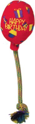 KONG Occasions Birthday Balloon Dog Toy, Red, Medium