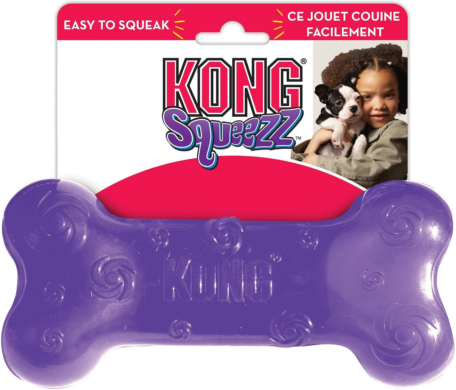 KONG Squeezz Bone Dog Toy, Color Varies Image