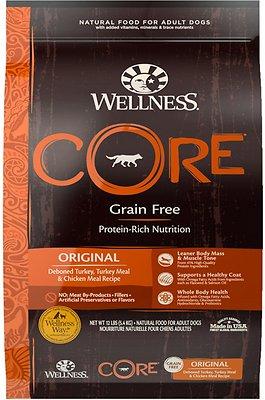 Wellness CORE Grain-Free Original Deboned Turkey, Turkey Meal & Chicken Meal Recipe Dry Dog Food, 12-lb bag