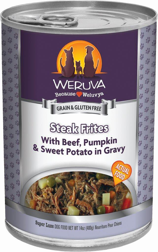 Weruva Dog Classic Steak Frites with Beef, Pumpkin & Sweet Potatoes in Gravy Grain-Free Wet Dog Food, 5.5-oz