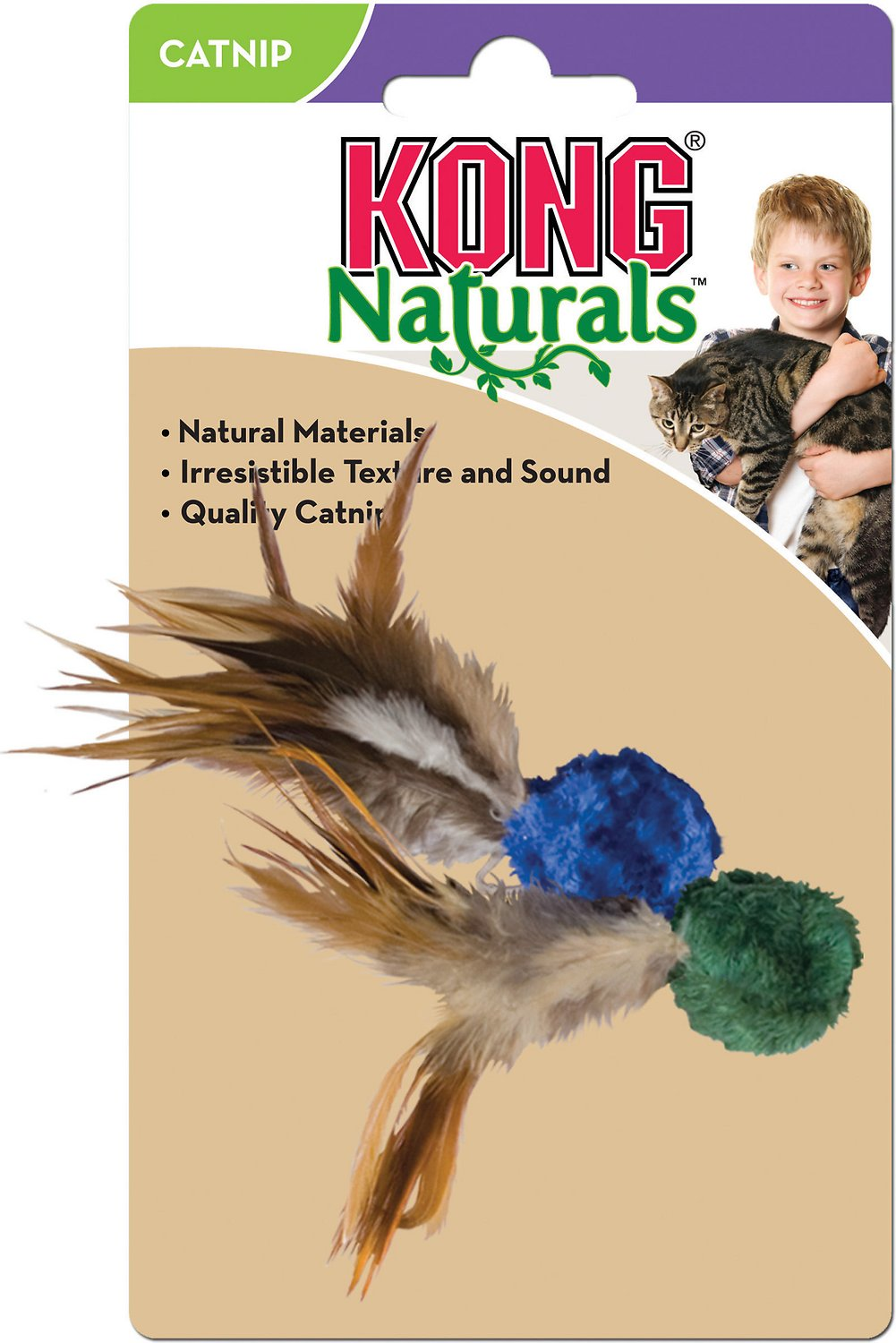 KONG Naturals Crinkle Ball with Feathers Cat Toy, Color Varies