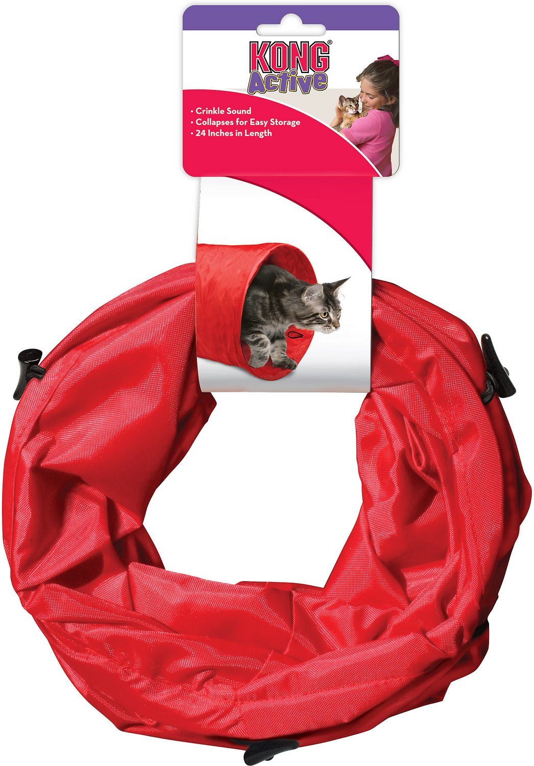 KONG Active Nylon Tunnel Cat Toy, Red Image