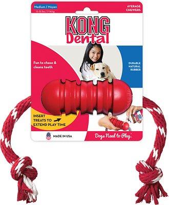 KONG Dental with Rope Dog Toy, Medium
