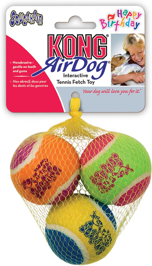 KONG Squeakair Birthday Balls Dog Toy, Color Varies, 2.5-in, 3-pack Image