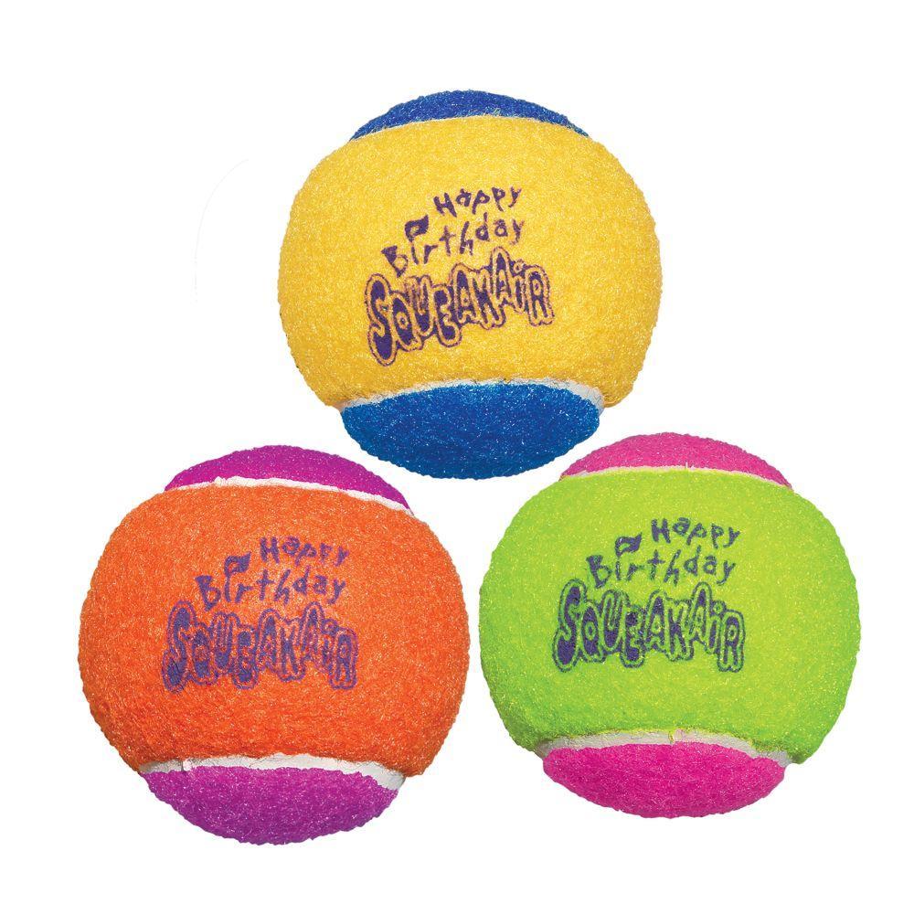 KONG SqueakAir Birthday Balls Dog Toy, Color Varies, Medium, 3-pack (Size: Medium, 3-pk) Image