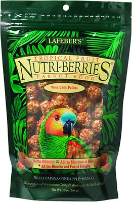 Lafeber Tropical Fruit Nutri-Berries Parrot Bird Food, 10-oz bag