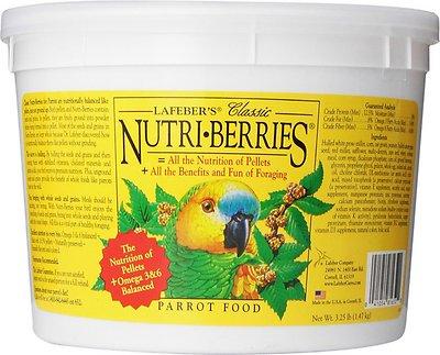 Lafeber Classic Nutri-Berries Parrot Bird Food, 3.25-lb tub