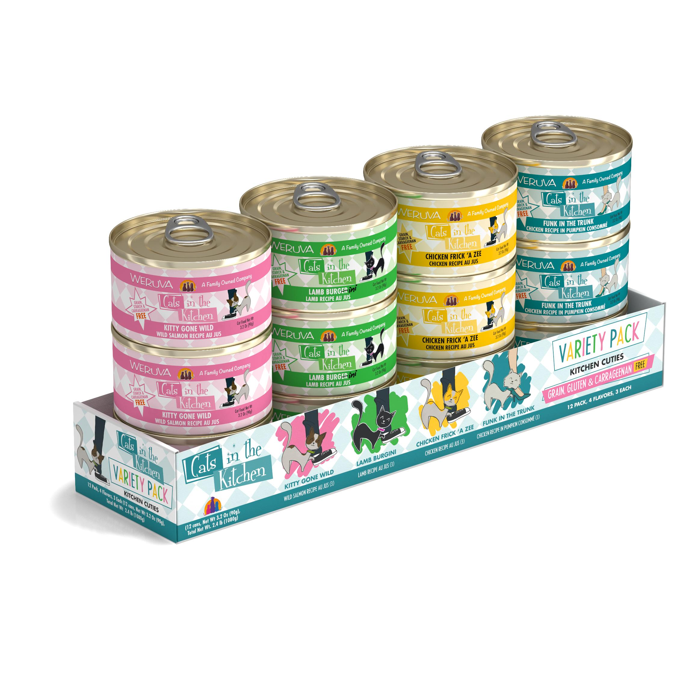 Weruva Cats in the Kitchen Kitchen Cuties Variety Pack Grain-Free Canned Cat Food, 3.2-oz, case of 12
