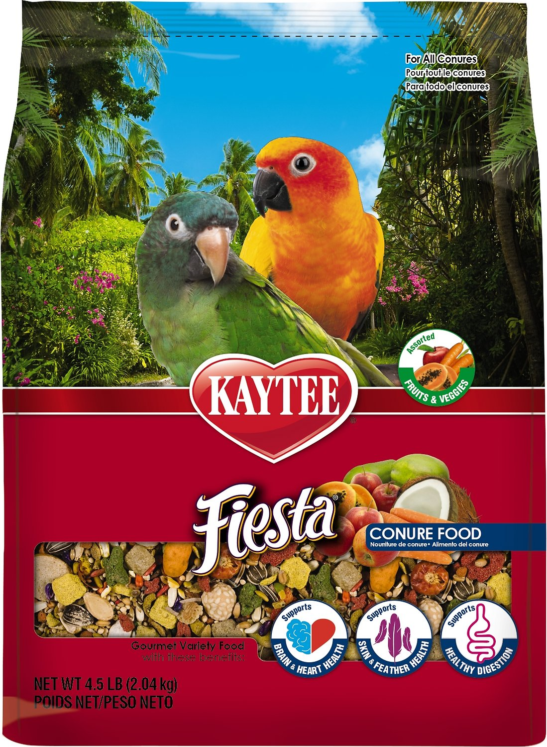 Kaytee Fiesta Variety Mix Conure Bird Food, 4.5-lb bag (Weights: 4.5 pounds) Image