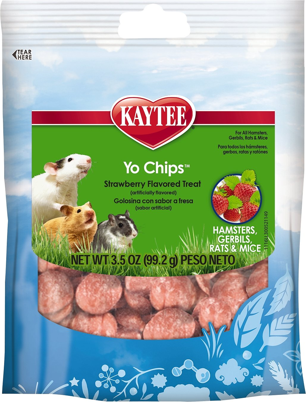 Kaytee Fiesta Strawberry Flavored Yogurt Chips Small Animal Treats, 3.5-oz bag