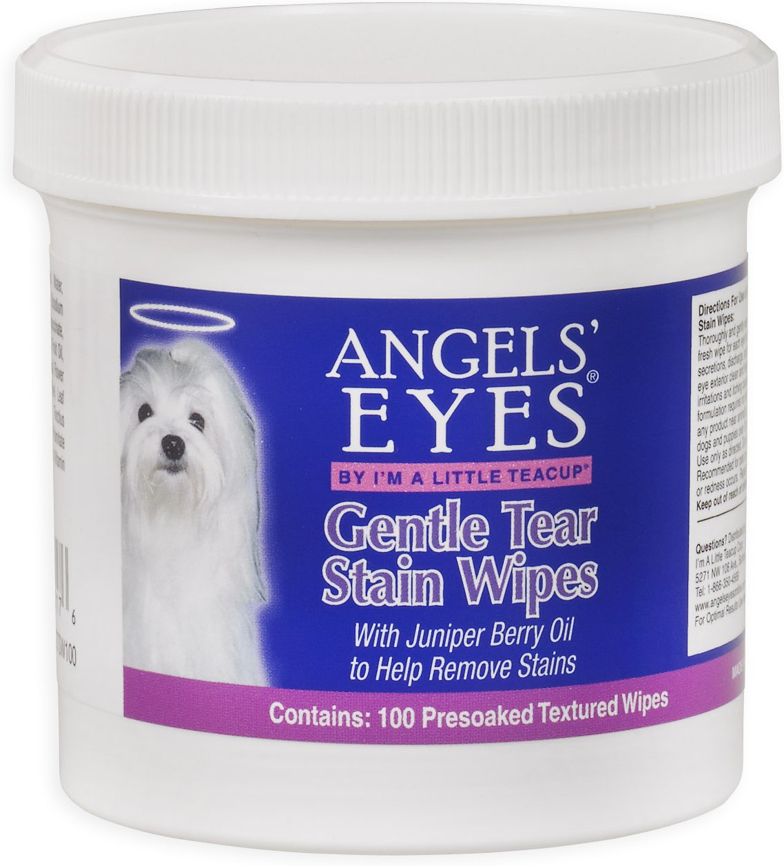 Angels' Eyes Gentle Tear Stain Wipes for Dogs, 100-count