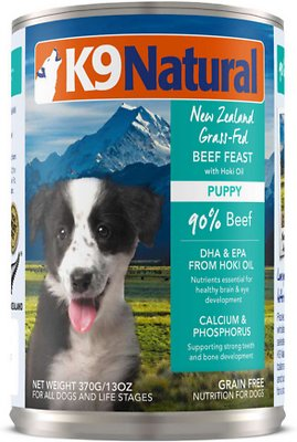 K9 Natural Puppy Beef Feast Grain-Free Wet Dog Food, 13-oz, case of 12