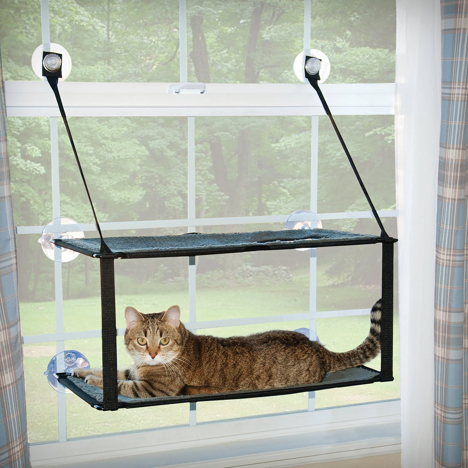 K&H Pet Products EZ Mount Window Double Stack Kitty Sill, Gray