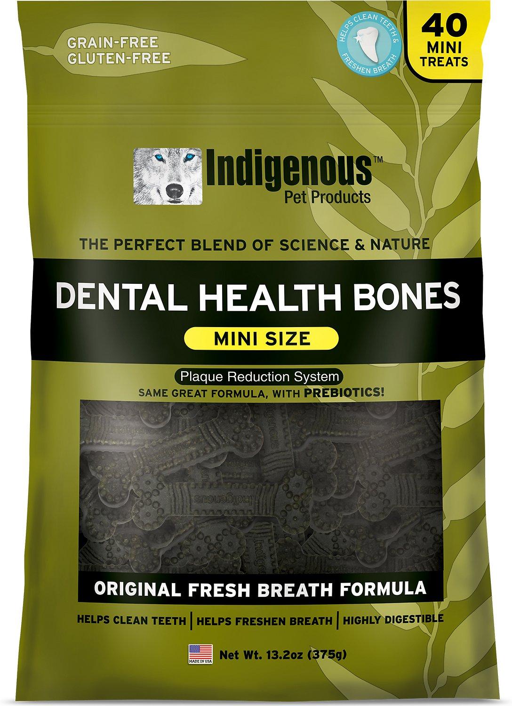 Indigenous Pet Products Mini Fresh Breath Formula Dental Dog Bones, 13.2-oz bag
