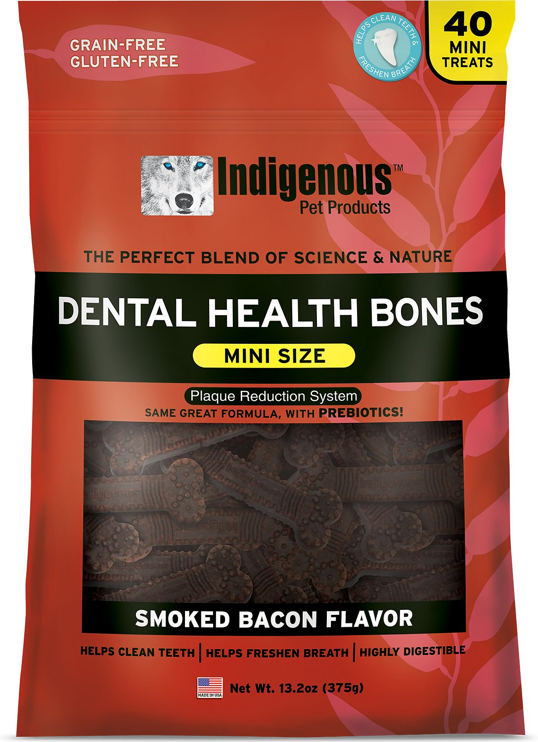 Indigenous Pet Products Mini Smoked Bacon Flavor Dental Dog Bones