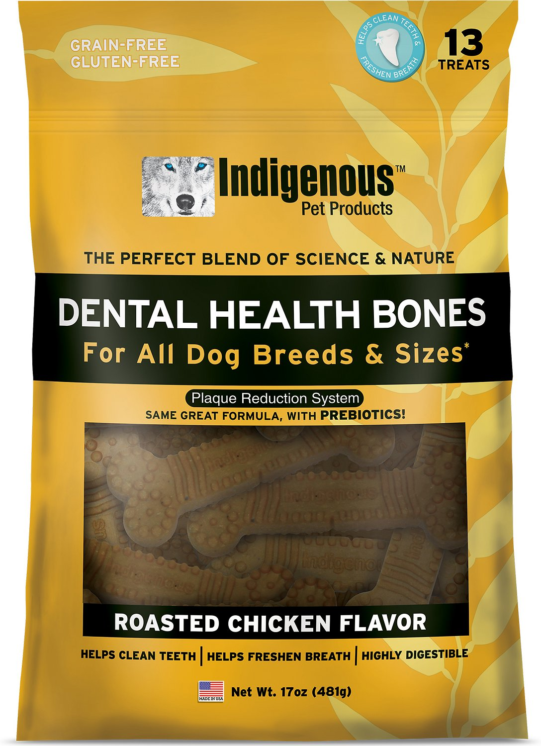 Indigenous Pet Products Roasted Chicken Dental Dog Bones, 13 count