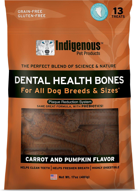 Indigenous Pet Products Carrot & Pumpkin Dental Dog Bones, 13 count