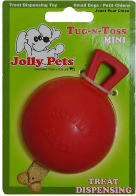 Jolly Pets Tug-n-Toss Mini Dog Toy, Red, 3-in