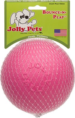 Jolly Pets Bounce-n-Play Dog Toy, Pink, 4.5-in