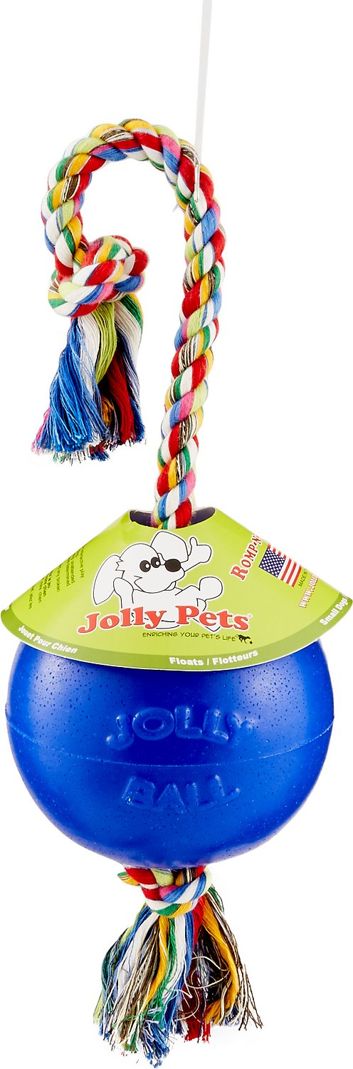 Jolly Pets Romp-n-Roll Dog Toy, Blue, 6-in