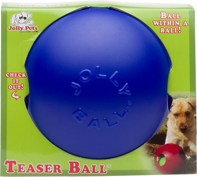 Jolly Pets Teaser Ball Dog Toy, Blue, 6-in