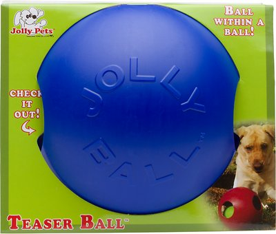 Jolly Pets Teaser Ball Dog Toy, Blue, 8-in