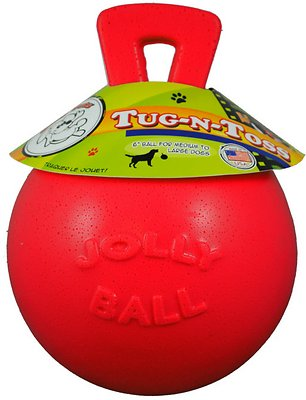 Jolly Pets Tug-n-Toss Dog Toy, Red, 6-in