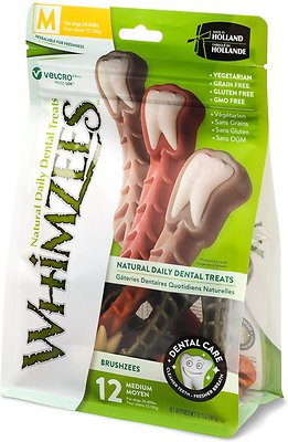 WHIMZEES Brushzees Dental Dog Treats, Medium, 12 count