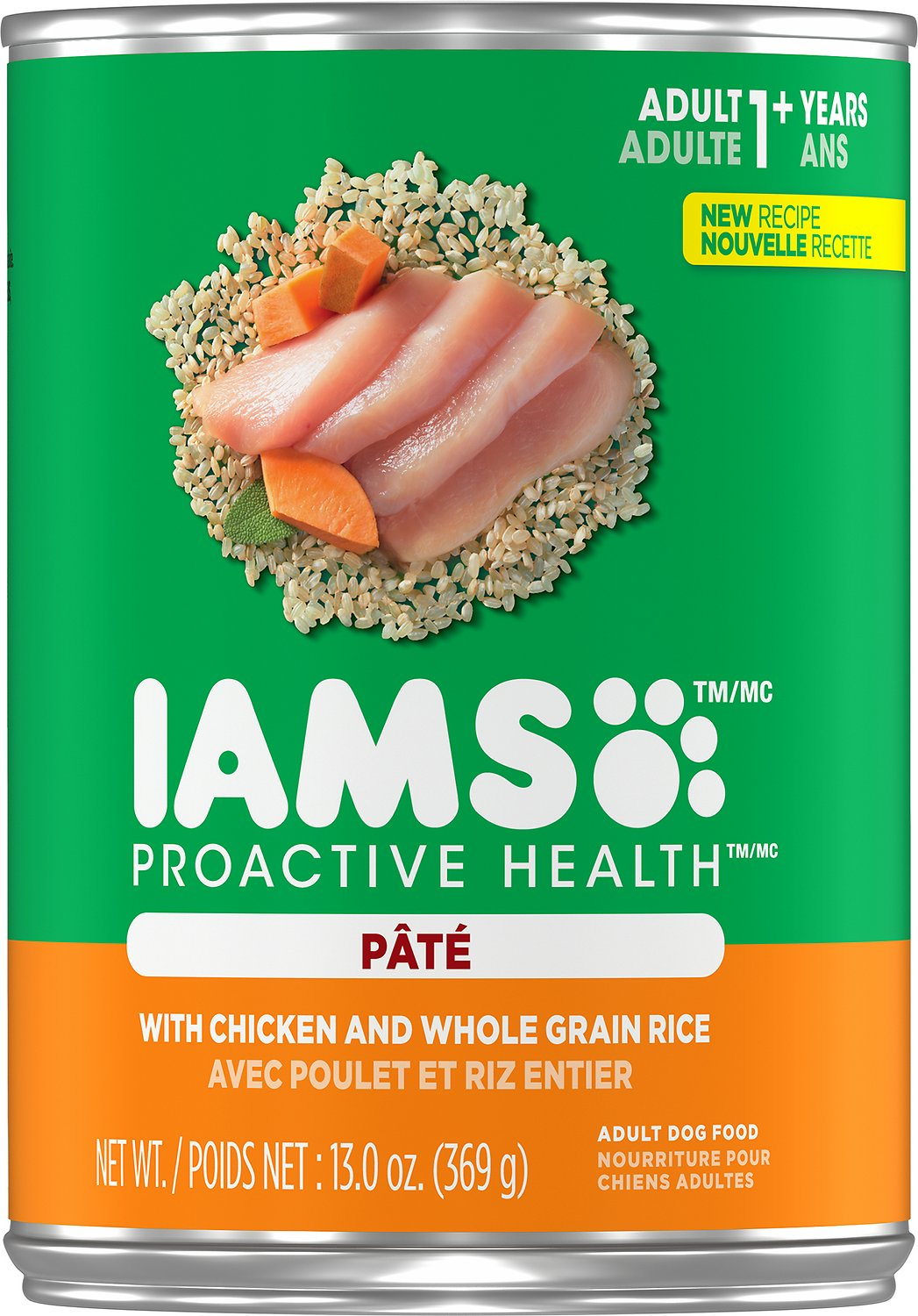 Iams ProActive Health Adult With Chicken & Whole Grain Rice Pate Canned Dog Food, 13.0-oz