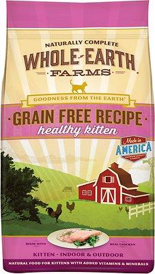 Whole Earth Farms Grain-Free Healthy Kitten Recipe Dry Cat Food, 5-lb bag