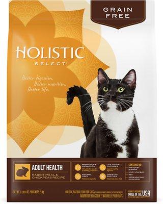 Holistic Select Adult Health Rabbit Meal & Chickpeas Grain Free Dry Cat Food, 11.5-lb bag