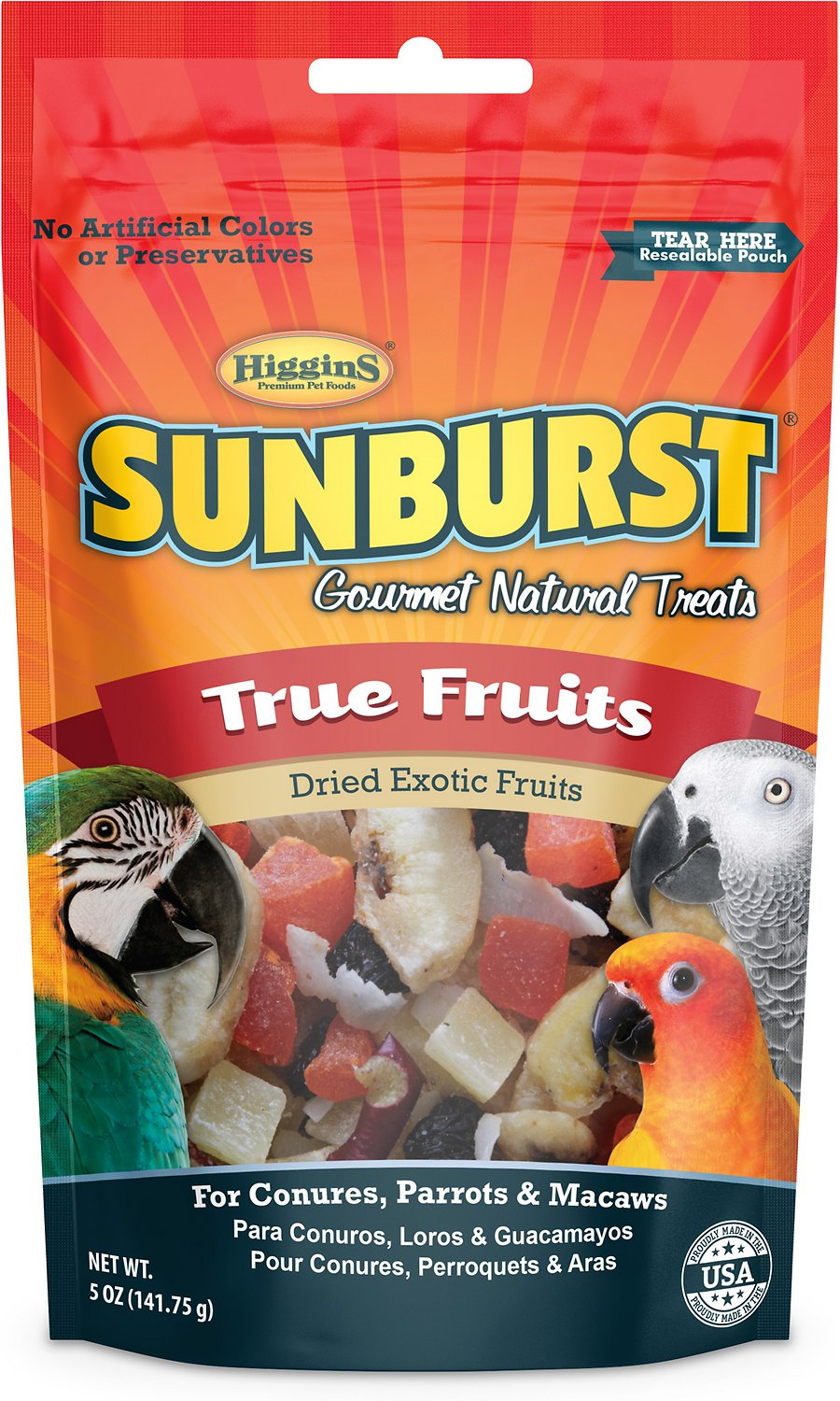 Higgins Sunburst True Fruits Dried Exotic Fruits Bird Treats, 5-oz bag