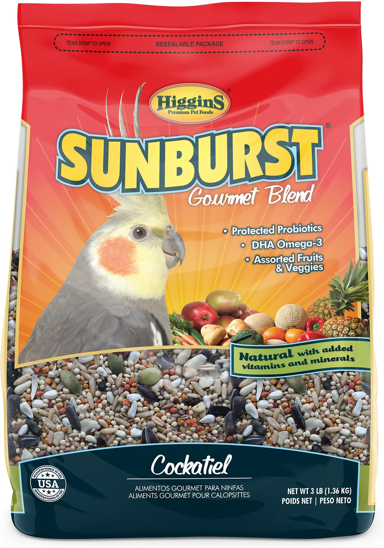 Higgins Sunburst Gourmet Blend Cockatiel Bird Food, 3-lb bag