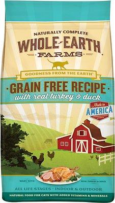 Whole Earth Farms Grain-Free Real Turkey & Duck Recipe Dry Cat Food, 10-lb bag