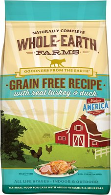 Whole Earth Farms Grain-Free Real Turkey & Duck Recipe Dry Cat Food, 5-lb bag