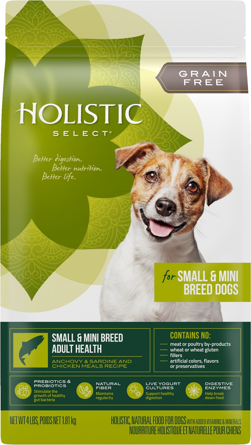 Holistic Select Small & Mini Breed Adult Health Anchovy, Sardine & Chicken Meals Recipe Dry Dog Food, 4-lb bag (Weights: 4.0 pounds) Image