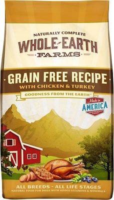 Whole Earth Farms Grain-Free Chicken & Turkey Recipe Dry Dog Food, 12-lb bag