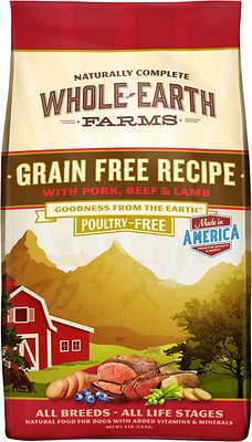 Whole Earth Farms Grain-Free Pork, Beef & Lamb Recipe Dry Dog Food, 25-lb bag