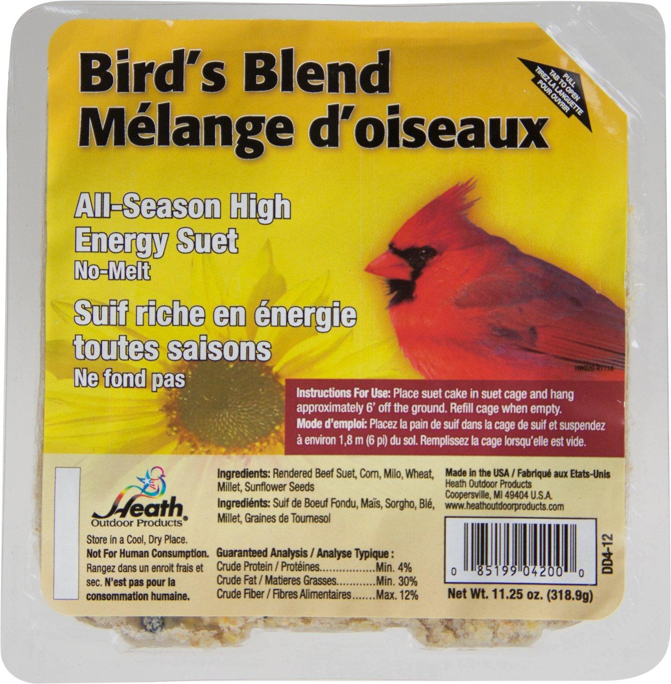 Heath Bird's Blend Select Suet Cake Bird Food, 11.25-oz, case of 12