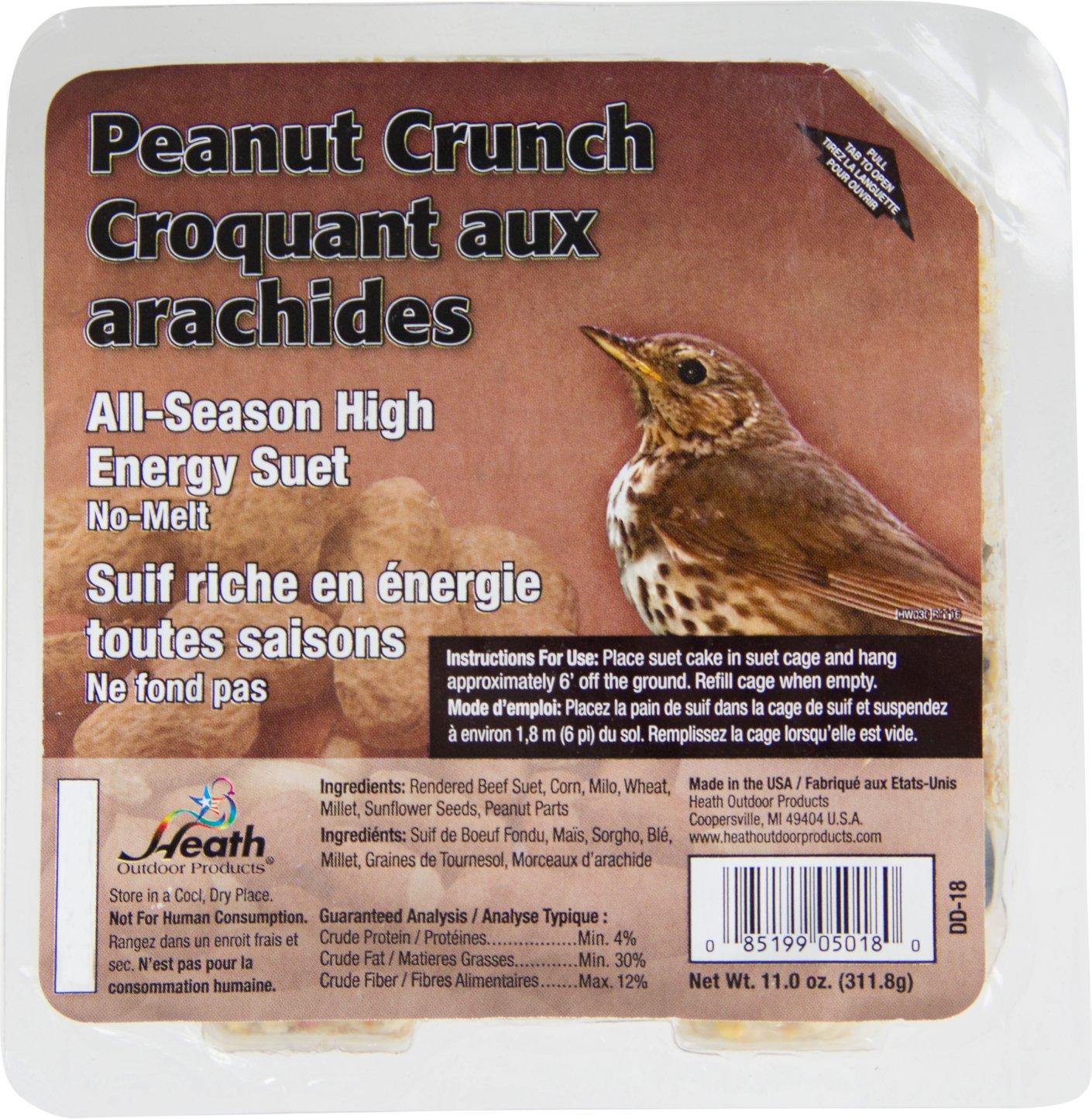 Heath Peanut Crunch Select Suet Cake Bird Food, 11-oz, case of 12