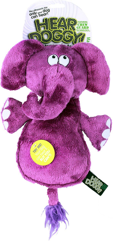 Hear Doggy Silent Squeaker Chew Guard Flattie Elephant Dog Toy Image