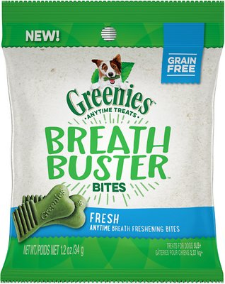 Greenies Breath Buster Bites Fresh Flavor Grain-Free Dental Dog Treats, 1.2-oz bag