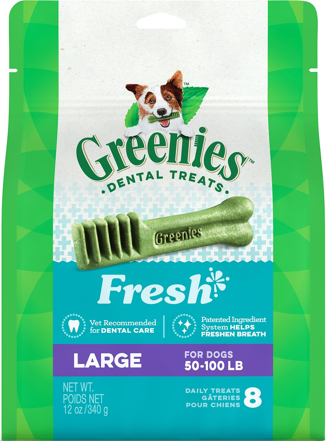 Greenies Fresh Large Dental Dog Treats, 8-count (Weights: 12-oz, Size: 8-count) Image