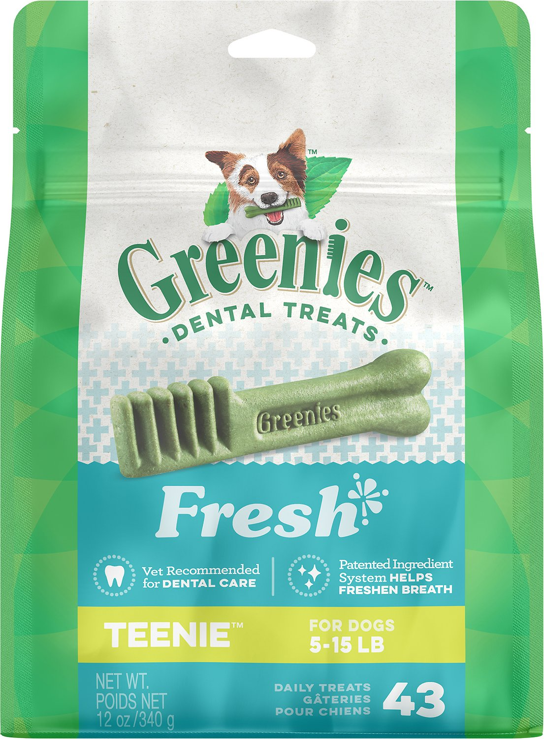 Greenies Fresh Teenie Dental Dog Treats, 43-count