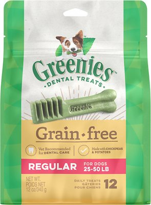 Greenies Grain-Free Regular Dental Dog Treats, 12-count